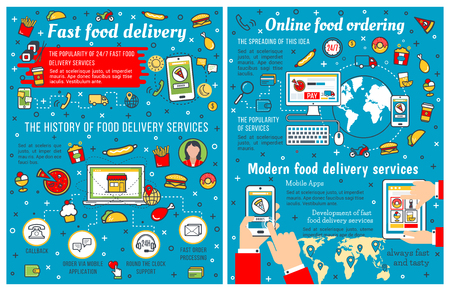 Fast food infographic on fastfood takeaway and delivery. Vector diagrams on fast food restaurant or cafe order on computer or mobile phone app, burgers popularity in world