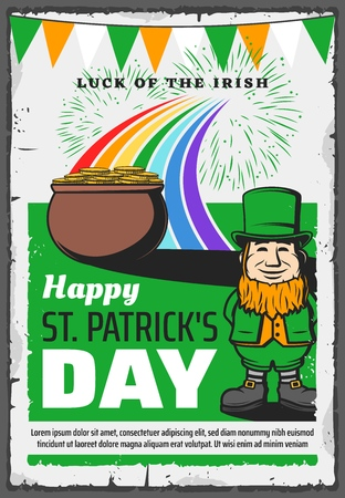 Happy St Patrick day greeting vintage poster with leprechaun in green hat and gold coins cauldron pot. Vector Saint Patrick Irish holiday rainbow with fireworks celebration and Ireland flags
