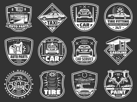 Auto service, car repair service and vehicle spare parts store icons. Vector taxi service, gasoline station or car wash and automotive diagnostics and restoration garage or tire fitting Stock Illustratie