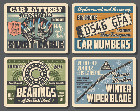Car service vintage posters of garage mechanic diagnostic, automobile number plates replacement and recovery. Vector automotive spare parts shop with bearings and winter wipe blades
