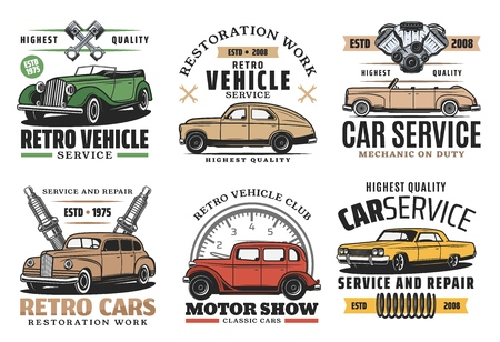 Retro cars service, vintage motor museum show and exhibition icons. Vector vintage automobile spare parts store, diagnostic or repair station and automotive mechanic garage