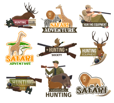 Hunting club badges, African safari hunt adventure and trophy animals icons. Vector hunter with rifle gun and traps, savanna lion or zebra and giraffe, forest wild deer and elk