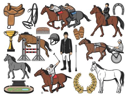 Pferde, Pferdesport und Jockey-Polo-Rennausrüstung. Vektor-Hippodrom-Barrieren, Gurtzeug mit Sattel und Hufeisen, Pferderennwagen auf Wettkampfstrecke und Siegespokal Vektorgrafik