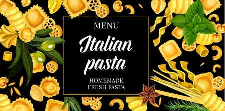 Italian pasta restaurant menu cover. Italy traditional homemade pasta farfalle, fusilli or fettuccine and linguine, penne or conchiglie and pappardelle or gnocchi with cooking ingredients and spices Illusztráció
