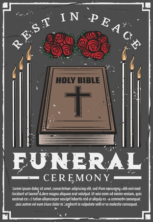 Funeral service agency poster. Vector mortuary and burial ceremony church candles, bible and memorial flowers wreath with Rest in Peace or RIP text