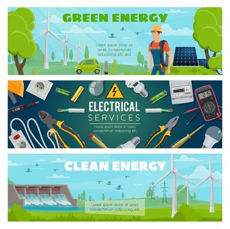 Electricidad, energía eléctrica verde y planta de energía ecológica. Equipo de reparación de electricista, molino de viento y central nuclear o electrocar y batería solar de ahorro de ecología