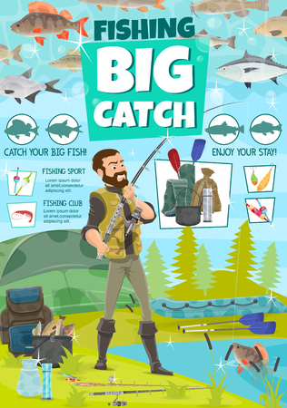 Lake or river fishing sport. Fisherman with rod and rubber boat catching fish, trout or perch and pike on lures and tackles, fisher camping tent and equipment, haversack and floats Illusztráció