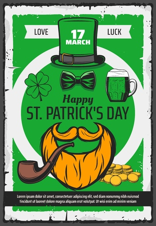 Saint Patrick Day, Ireland holiday love and luck party vintage poster. Vector Happy St Patrick day greeting, smoking pipe in beard and mustache, shamrock clover and Irish beer pint mug Ilustração