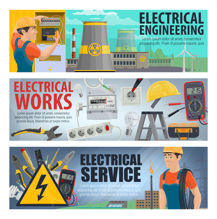 Electrician tools, energy power and electricity instruments. Vector electric technician service ammeter and voltmeter, home plug and socket, power plant and eco energy windmill
