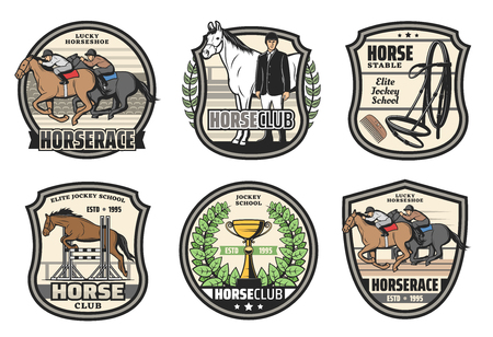 Horse racing school, polo sport club and jockey horserace badges. Vector equestrian icons of hippodrome horse racing, victory cup and equine equipment