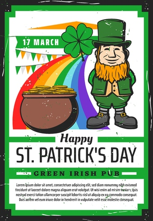 Saint Patricks Day Irish pub party vector invitation of religion holiday celebration. Leprechaun with green clover, gold pot and rainbow, lucky shamrock leaf, hat, golden coins and orange beard Illusztráció