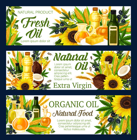 Natural oils, salads dressing and food cooking ingredient. Vector sunflower, olive or linseed flax and peanut and maize corn or coconut oil in bottles and jars