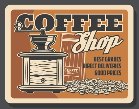 Coffee house or coffeeshop and cafeteria poster. Vector vintage coffee beans in grinder mill, cappuccino or americano and espresso coffee pack Foto de archivo - 124935577