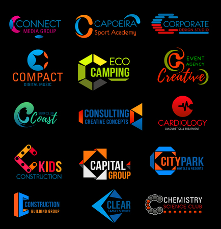 Letter C corporate identity icons of cardiology medical clinic, creative concept consulting agency and construction or building group. Vector C symbols of city park, science club or eco camping travel