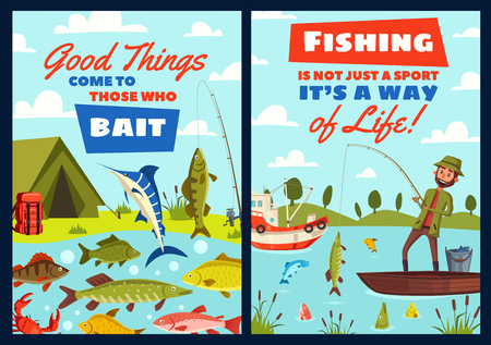 Fishing outdoor adventure or fisherman camping sport hobby. Vector fisher man with rod and boat at lake or river, catching fish marlin, salmon or trout and pike with perch or seafood crab