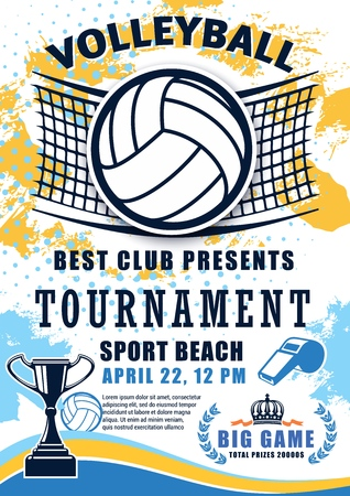 Volleyball sport match tournament poster. Vector volleyball championship or sport league cup competition and victory cup on halftone background