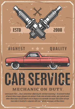 Car service and vehicle repair station. Vector engine motor spark plugs replacement or vehicle spare parts store and mechanic diagnostic or restoration garage vintage poster
