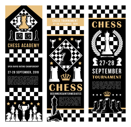 Chess academy tournament banners. Vector chess port and leisure game pieces horse, rook and king crown on chessboard strategy background with score clock