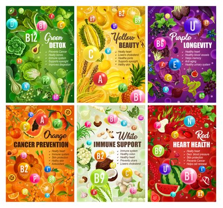 Color diet healthy food and vitamins in fruits and vegetables. Vector organic natural nutrition salads and berries, green detox or red heart health and citrus cancer prevention color diet Illustration