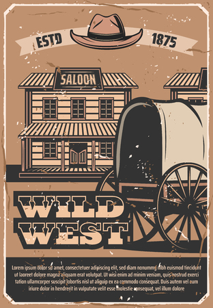 Wild West vintage poster of cowboy saloon and horse wagon cart or sheriff hat. Vector Western American history museum of Texas or Arizona Ilustração