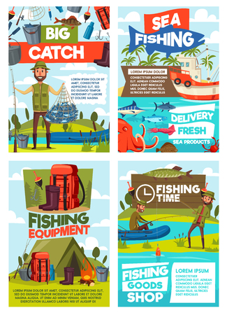 Fishing tourism or fish catch sport adventure. Vector fisherman at lake or sea in rubber boat with rod and camping tent, fishing tackle and lures for pike, perch or seafood octopus