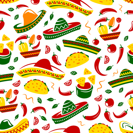 Mexican cuisine seamless pattern. Vector background of sombrero, chili or jalapeno pepper and Mexican food tacos, burrito or nachos and avocado guacamole salsa or traditional Cinco de Mayo pattern