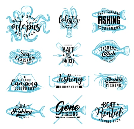 Sea fishing or fisherman club sketch lettering icons. Vector fisher adventure calligraphy symbols of rod and hook, ocean tuna or lake trout and flounder, lures and tackles, seafood octopus and shrimp