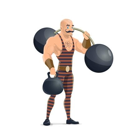 Homme de muscle de cirque avec des haltères en costume rayé vintage. Homme fort de cirque rétro chapiteau interprète avec des boules de fer à l'haltère en spectacle sur une arène de dessin animé