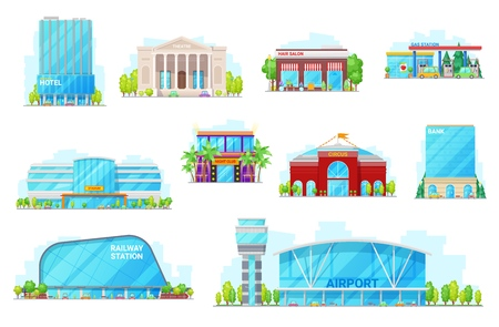 City urban building icons. Vector isolated hotel, opera theater or hair salon and gas station, arena stadium, night club and circus, airport and railway station