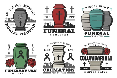 Funeral and funerary urn columbarium or burial ceremony service agency icons. Vector symbols of cremation urn on cemetery graveyard with cross, flowers and doves with black ribbon