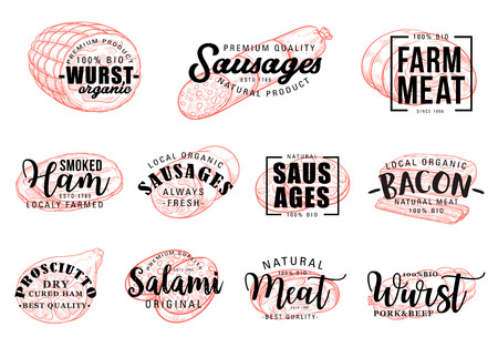 Meat and butcher shop grocery products lettering sketch. Vector calligraphy gourmet meaty delicatessen gastronomy, pork bacon, ham or salami wurst sausages, smoked beef brisket and jamon