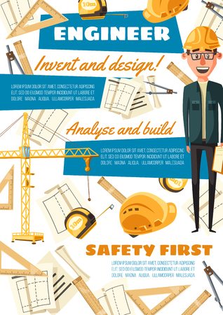 Construction and building engineering profession. Vector constructor engineer man with work equipment and tools, crane or safety helmet and construction project with ruler and compass pencil Ilustrace