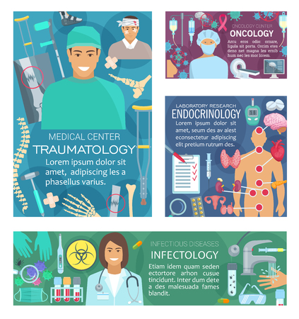 Oncology, traumatology medicine, infectology and endocrinology doctors. Vector endocrinologist, traumatologist, oncologist and infectologist medical diagnostic items and treatment pills Ilustração