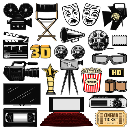 Cinematography, movie making or retro cinema and film director icons. Vector cinema ticket, producer clapperboard, 3D glasses and BHS video cassette with reel camera and tv 矢量图像