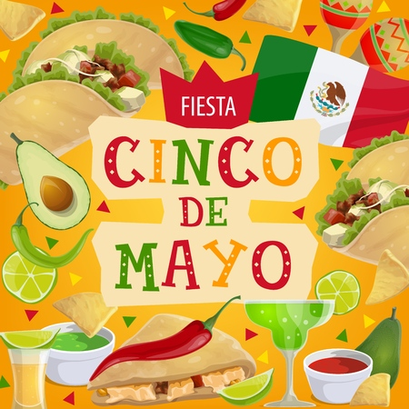 Cinco de Mayo fiesta party celebration in Mexico. Vector Mexican traditional holiday Cinco de Mayo greeting and symbols, avocado with chili jalapeno pepper, margarita cocktail and quesadilla