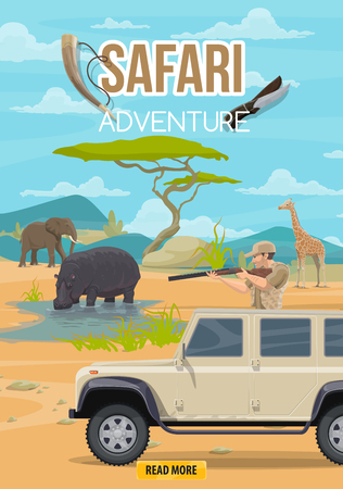 African safari hunting adventure. Hunter on hunt truck car with rifle gun and horn hunting on savanna elephant, hippopotamus or zebra wild animals trophy 일러스트