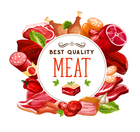 Meat and butcher shop grocery products. Gourmet sausages and meaty delicatessen gastronomy, pork bacon, ham or pepperoni and salami, smoked beef brisket or cervelat and chicken leg