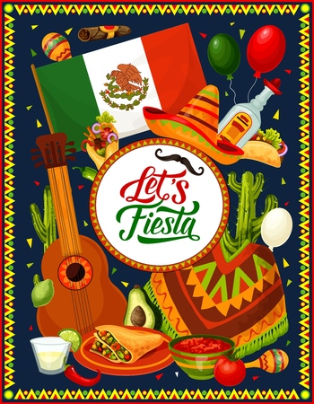 Mexican fiesta sombrero, guitar and festive food vector design of Cinco de Mayo holiday celebration. Tequila, chilli tacos and nachos, cactus, flag of Mexico and cigar, mariachi costumes and balloons