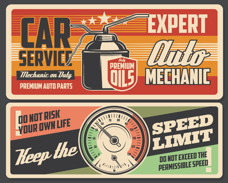 Car service on engine and gear transmission oil change. Automobile spare parts shop and garage station mechanic restoration station, speed limit warning vector vintage poster 일러스트