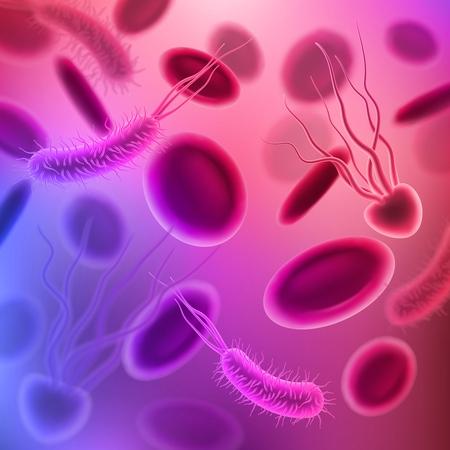 Viren, Bakterien und Keime nahtloser Musterhintergrund. 3D schädliche Mikroorganismen und Krankheitserreger mit roten Blutkörperchen. Vektordesign für Medizin und Mikrobiologie