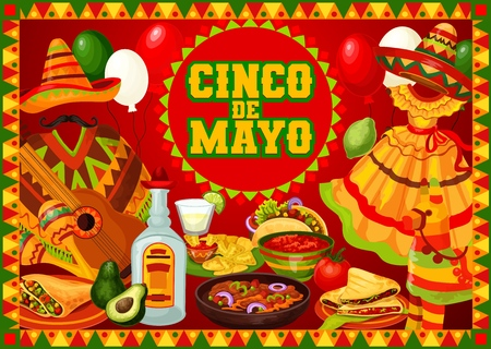 Cinco de Mayo Mexican holiday greetings poster with food and decorations. Vector Mexico fiesta Cinco de Mayo sombrero with poncho and mustaches, cactus tequila, nachos and avocado, guitar and pinata Ilustração