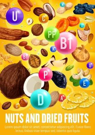 Healthy nuts and dried fruits, vitamins and vitamins. Organic vegetarian nutrition food of figs, coconut or hazelnut and dried pineapple and apricot, cashew and peanuts or raisin