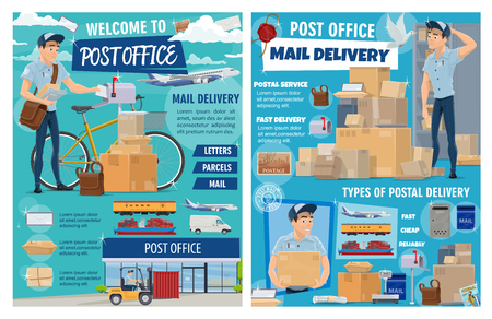 Post office, parcels and mail correspondence delivery. Vector post office and express delivery, cargo shipping and freight logistics, courier with newspapers and letter envelopes