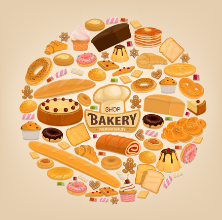 Bakery desserts, pastry and bread. Vector bakery shop sweet donut, chocolate pie or tiramisu torte and cupcake, wheat bagel or pretzel and rye bun with baguette, croissant and baker hat Ilustrace