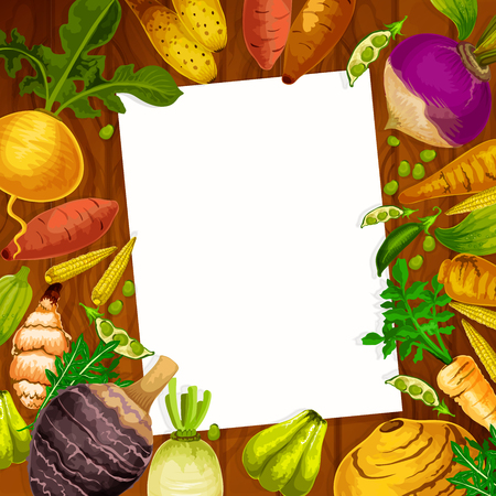 Cooking recipe blank page in root vegetables or veggies frame. Vector white note in kaywa, rutabanga or apium and parsnip tuber with arracacia and cassava or sweet potato and artichoke Stock Illustratie