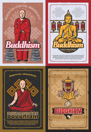 Buddhist monks and Buddhism religion symbols. Vector posters of Buddha in meditation with mudra signs and Zen stones, Yin Yang on temple drums and victory banner