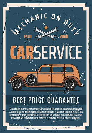 Auto service tuning and mechanic restoration station. Vector vintage poster of automotive and retro cars repair or spare parts store, engine and chassis diagnostic