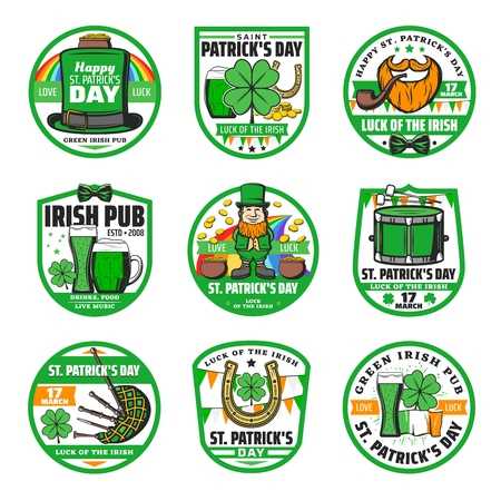 Saint Patricks Day vector badges of religion Irish holiday. Leprechaun, pots of gold, hat and rainbow, shamrock and clover green leaves, beer, horseshoe and orange beard with pipe, Ireland flag, drum