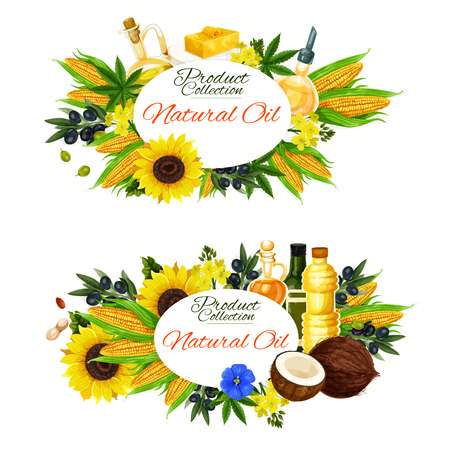 Natural cooking oils, salad dressing and food ingredients. Vector sunflower, extra virgin olive or linseed flax and nut oil in jars and bottles