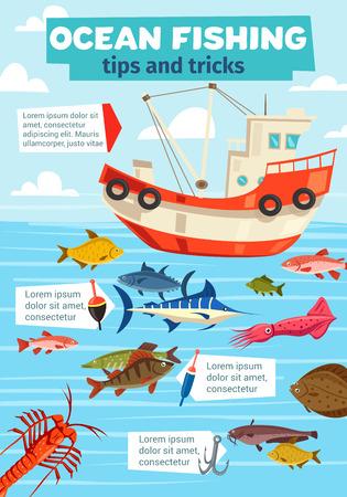 Bateau de pêche, pêche océanique et maritime. Navire de pêcheur vectoriel avec filet et grosses prises de marlin, de plie ou de carpe et de saumon avec crevettes, calmars et fruits de mer de crabe